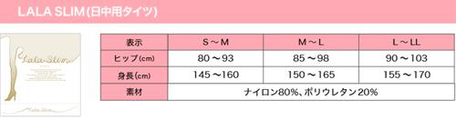 ララスリムのサイズ対応表